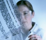 Scientist Viewing DNA Sequencing